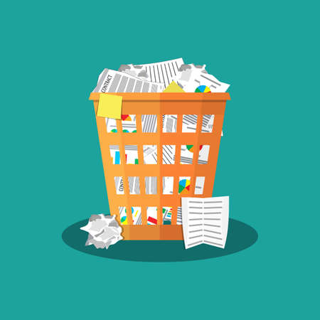 Trash Recycle Bin Garbage Flat Vector Illustration Vectores