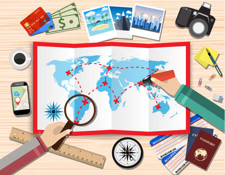 airplane ticket: couple of mans with magnifier and pen planning trip. paper map of world. passport, airplane ticket, photo camera photos, sticky notes. vector illustration in flat design on light background