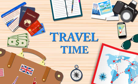 travelers: Travelers desktop with suitcase, camera, plane ticket, passport, compass and Sunglasses, travel and vacations concept. vector illustration in flat design Illustration