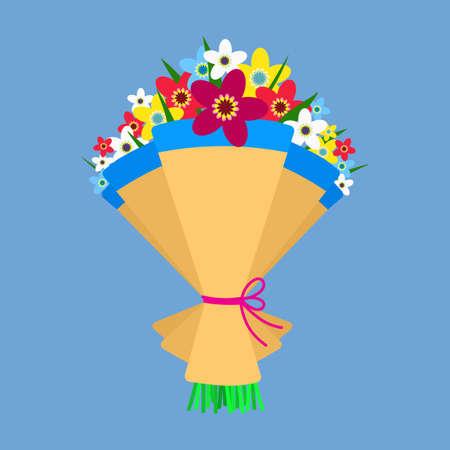 wedding bouquet: Cute bouquet of flowers. Wedding bouquet flowers, birthday bouquet flowers, vector illustration in flat design