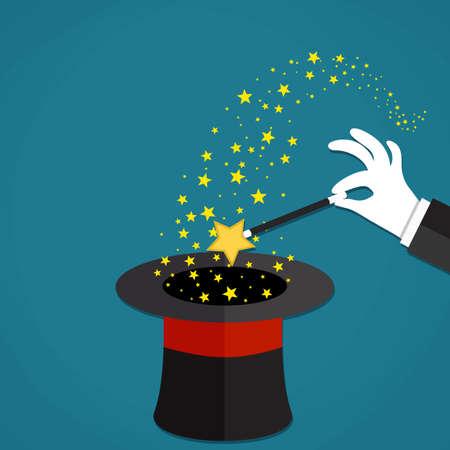 Los magos de la historieta de las manos en guantes blancos, sosteniendo una varita mágica con estrellas chispas por encima de negro sombrero mágico. Ilustración del vector en diseño plano sobre fondo verde