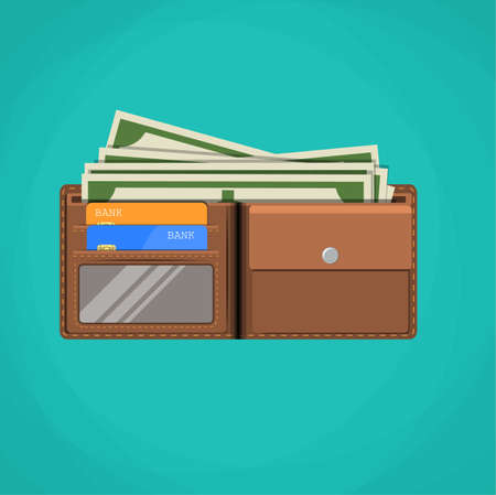 plastic money: Flat wallet card and cash. Leather wallet with dollars, credit cards.  Brown wallet. Full wallet. Wallet filled up with money and plastic cards. vector illustration in flat design