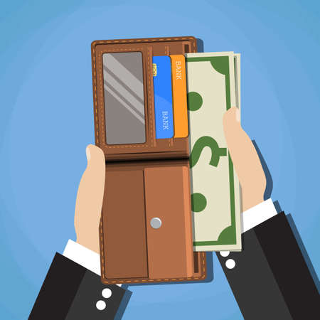 human hands putting cash dollars into opened brown leather men wallet with credit cards. vector illustration in flat design on blue background
