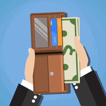 manos humanas poniendo dólares en efectivo en la billetera abierta de cuero marrón con tarjetas de crédito. ilustración vectorial en diseño plano sobre fondo azul