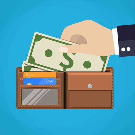 bank bill: Leather wallet with some dollars and credit cards. Male hand putting money to it.vector illustration in flat design on blue background