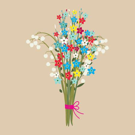 primavera ramo de flores lindo. Flores del ramo de la boda de hermosas flores del ramo, cumpleaños, ilustración vectorial en diseño plano