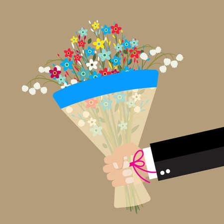 cartoon businessman hand holding bouquet  flowers. vector illustration in flat design . Beautiful wedding congratulation bouquet isolated on background. Wedding bouquet flat style