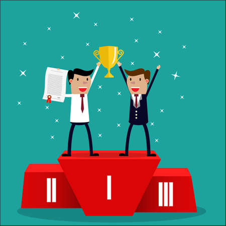 Cartoon Businessman team  winner standing in first place on a podium holding up an award certificate and trophy as he celebrates his victory vector illustration Illustration