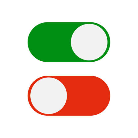 Toggle switch icon, green in on position, red in off, vector illustration in flat design. template for mobile applications, web design