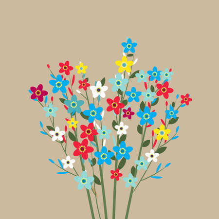 flowers bouquet, spring flowers, colorful flowers. vector illustration in flat design on light background Illustration