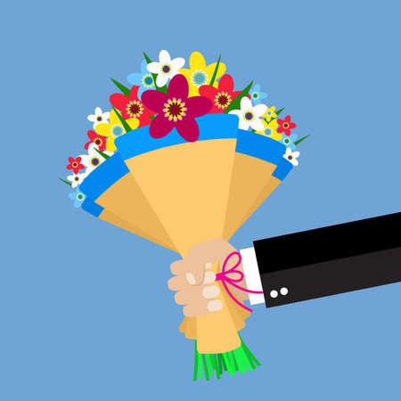 empresario de dibujos animados mano que sostiene las flores del ramo. ilustración vectorial en diseño plano. Hermoso ramo de boda felicitación aislado en el fondo. Ramo de la boda de estilo plano