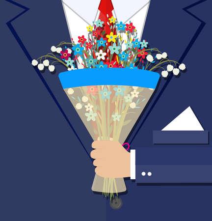 cartoon businessman hand holding bouquet  flowers. vector illustration in flat design . Beautiful wedding congratulation bouquet. Wedding bouquet flat style