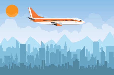 Morning city skyline. Buildings silhouette cityscape with mountains. Big city streets. sky with sun and clouds. Vector illustration. Plane flying over urban city. Vector illustration Illustration