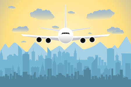 cityview: Morning city skyline. Buildings silhouette cityscape with mountains. Big city streets. sky with sun and clouds. Vector illustration. Plane flying over urban city. Vector illustration Illustration