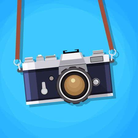 straps: Retro camera in a flat style. Vintage camera on a colored background. Old camera with strap. Isolated antique Camera. Hung retro camera. Retro Camera straps.