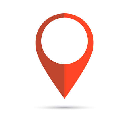 geolocation: Red geo pin with copy space on white. Geolocation and navigation. Icon for mobile and electronic devices, web design, infographic elements, presentation templates. Illustration