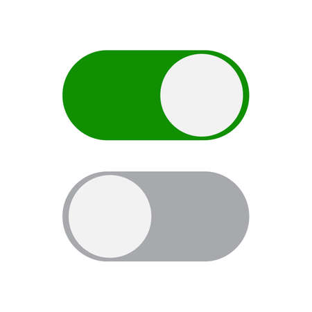 toggle switch: Toggle switch icon, green in on position, grey in off, vector illustration in flat design. template for mobile applications, web design