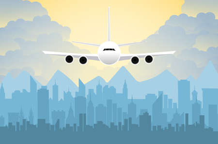 megapolis: Morning city skyline. Buildings silhouette cityscape with mountains. Big city streets. sky with sun and clouds. Vector illustration. Plane flying over urban city. Vector illustration Illustration