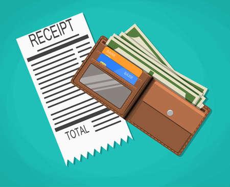 cash receipt: receipt, money cash with dollar banknotes, credit debit bank cards inside of leather wallet. vector illustration in flat design on green background