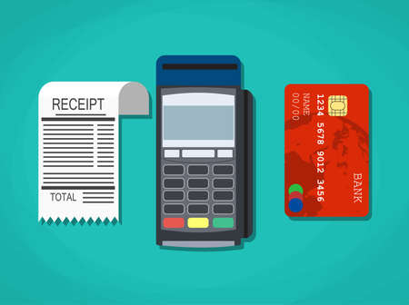 cashless payment: pos terminal, paper receipt and debit credit bank card. cashless payment. Vector illustration in flat design on green background Illustration