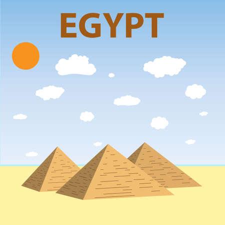 giza pyramids: Flat design of Three Egypt pyramids vector. Pyramids Giza. Tourism. vector illustration