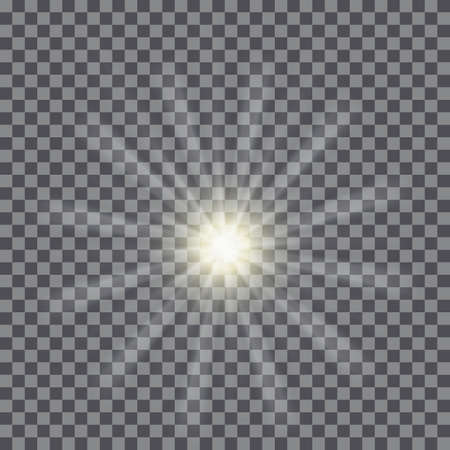 Vector glowing light bursts with sparkles on transparent background.  Vector illustration for your design and business. Sunburst rays of light. Illustration