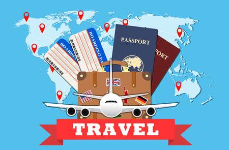Reizen en toerisme concept. Vliegtickets, paspoorten en reizen koffer met funky stickers en wereldkaart, civiele vliegtuig, toerisme en planning, vector illustratie. Travel Concept.