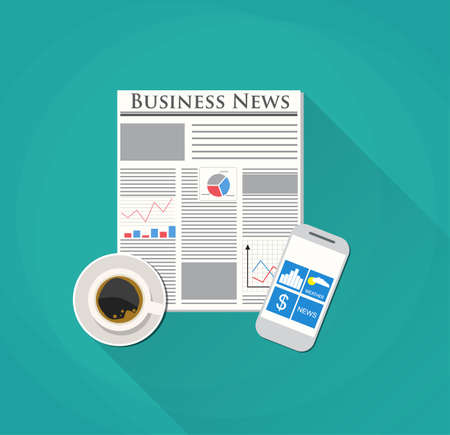business backgound: Modern morning. Newspaper, pencil and coffee. icon news. Morning business elements. vector illustration in flat design on blue backgound for business concept.