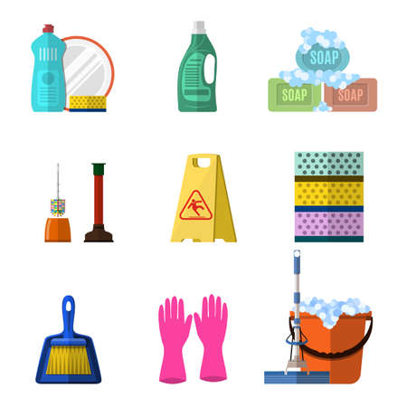 mop floor: Cleaning icons set with mop soap and gloves, red plastic bucket, cleaning products in bottle for floor and glass. vector illustration isolated in flat design.
