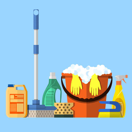 mop floor: Cleaning set. MOP, sponge, red plastic bucket with rubber gloves upstairs, cleaning products in bottle for floor and glass, yellow sign reminder of wet floor . vector illustration in flat design Illustration