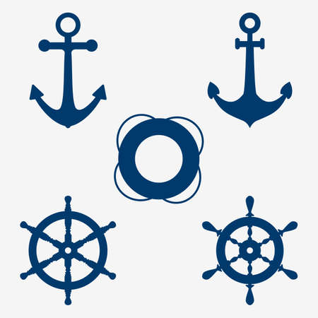 set of images of an anchor, lifebuoy and steering wheel, nautical symbols. ship wheel icons set Vector illustration