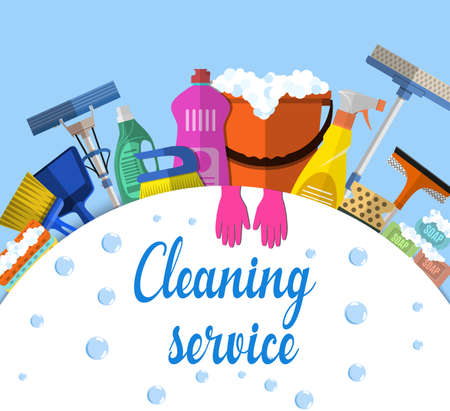 Cleaning service flat illustration. Poster template for house cleaning services with various cleaning tools. Caution wet floor sign, bucket, mop, sponge, brush, detergent product. Vector illustration Stok Fotoğraf - 55054138