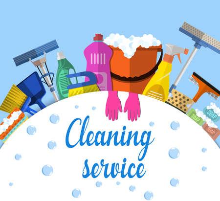 El servicio de limpieza plana ilustración. Modelo del cartel para los servicios de limpieza de la casa con herramientas de limpieza vaus. Muestra de la precaución piso mojado, cubo, fregona, esponja, cepillo, producto detergente. ilustración vectorial