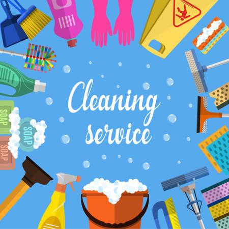 クリーニング サービス フラット イラスト。家のクリーニング サービス、さまざまなクリーニング ツールのポスターのテンプレートです。注意ぬれ