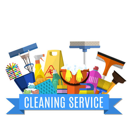 El servicio de limpieza plana ilustración. Modelo del cartel para los servicios de limpieza de la casa con diversas herramientas de limpieza. Muestra de la precaución piso mojado, cubo, fregona, esponja, cepillo, producto detergente. ilustración vectorial