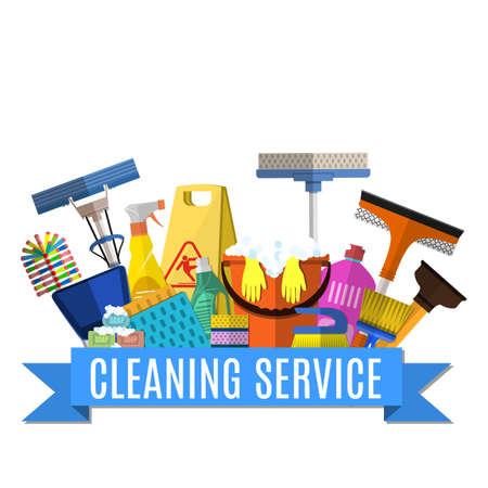 Service de nettoyage illustration plat. modèle d'affiche pour les services de nettoyage de maison avec des outils de nettoyage de vaus. Attention signe humide de plancher, seau, balai, éponge, brosse, produit détergent. Vector illustration