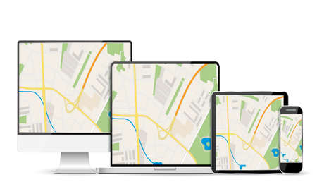 GPS Abstract generic city map with roads, buildings, parks, river on display of modern digital devices, desktop pc, tablet pc, smartphone, laptop. vector illustration in flat design white background