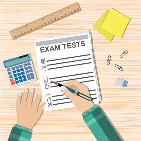 Student hand fills examination quiz paper, School exam test results. wooden school desk with pins, calculator. vector illustration in flat design. Çizim