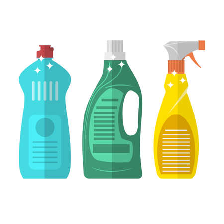 household goods: Household chemistry cleaning three plastic bottles, household cleaning container design. Domestic spray washing handle equipment. flat vector illustration isolated on white background.