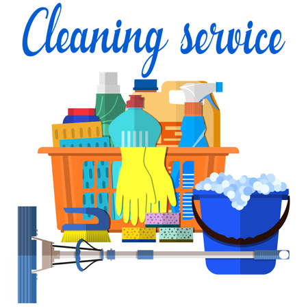 spay: Household cleaning products and accessories in basket with detergent spay and rubber gloves abstract vector illustration in flat design. Cleaning set. MOP, sponge, blue plastic bucket, Illustration