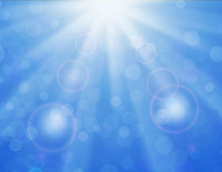 sky sun: Vector background with shiny sun over a blue sky, with bokeh effect, lens flare and blurs. abstract blue sky and sun light ray. Blue sky natural background