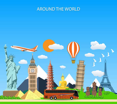 Trip to World. Travel to World. Vacation. Road trip. Tourism. Travel banner. Vector illustration of flat design composition with famous world landmarks icons. Concept website template. Illustration