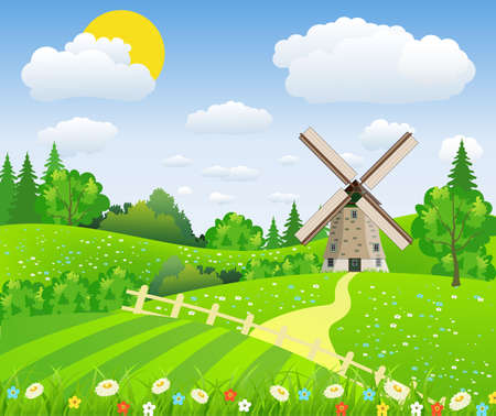 Landscape design over sky background, vector Illustration of a farmhouse above the hills with a windmill