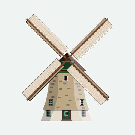 farmstead: Wind mill. vector Illustration of windmill on white background in flat design