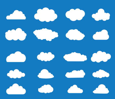 blue sky with clouds: Set of blue sky, clouds. Cloud icon. Vector illustration