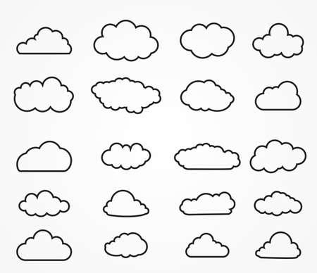 Nube colección de formas. iconos para web en la nube de computación en nube y aplicación. Simplus serie. Iconos de la nube esbozados