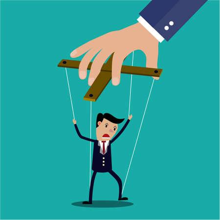 obedecer: El hombre de negocios de dibujos animados en manette cuerdas controladas a mano, ilustración vectorial en diseño plano sobre fondo verde
