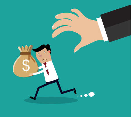 deductions: Cartoon hand tries to grab the bag of money running businessman. vector illustration in flat design on green background Illustration