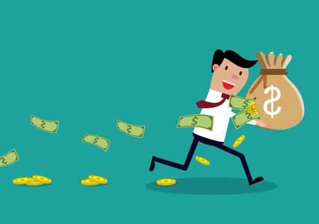 Careless Businessman Carrying a Torn Money Bag. Financial Loss Concept. Businessman losing money. vector illustration in flat design on green background