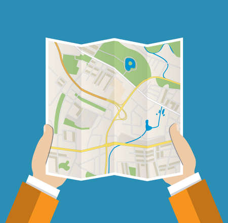 folded hand: Folded Paper Map In Hand, Abstract generic city map with roads, buildings, parks, river. Vector Illustration in flat design on blue background